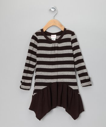 Brown & Gray Stripe Skirted Tunic