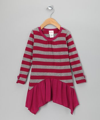 Pink & Gray Stripe Skirted Tunic