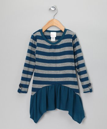 Teal & Gray Stripe Skirted Tunic