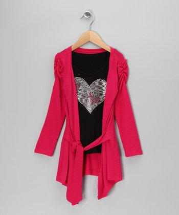 Fuchsia Cardigan & Black Sparkle Top