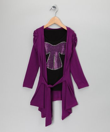 Purple Cardigan & Black Sparkle Top