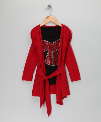 Red Cardigan & Black Sparkle Top