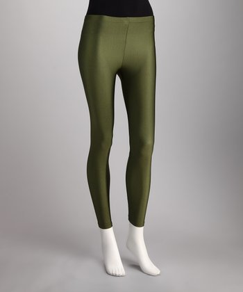 Olive Coated Leggings - Women