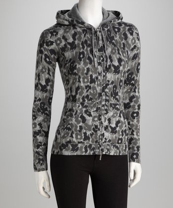 Forte Cashmere Pewter Abstract Animal Cashmere Hoodie