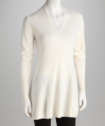 Forte Cashmere White Cashmere V-Neck Sweater