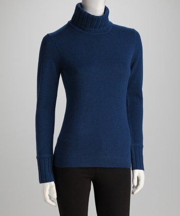 Forte Cashmere Winter Teal Ribbed-Trim Cashmere Turtleneck