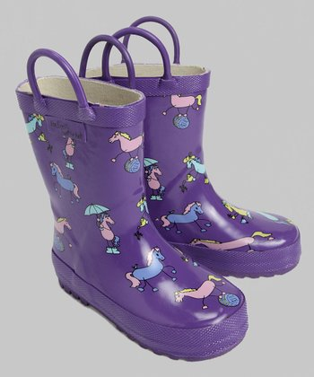 Purple Pony Rain Boot