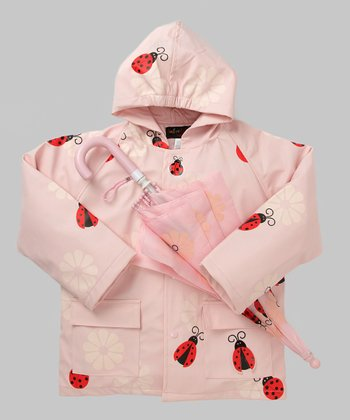Pink Ladybug Raincoat & Umbrella - Infant, Toddler & Kids