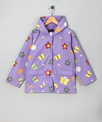 Lavender Flower Raincoat - Kids