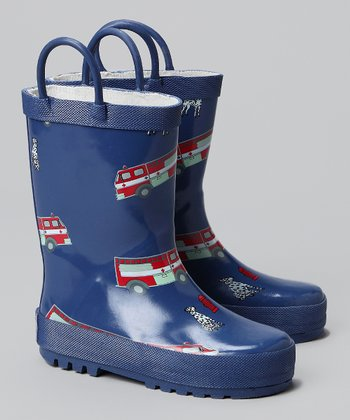 Blue Fire Truck Rain Boot