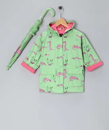 Green & Pink Gator Raincoat & Umbrella - Infant, Toddler & Kids