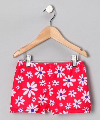 Red Dancing Daisy Shorts - Girls