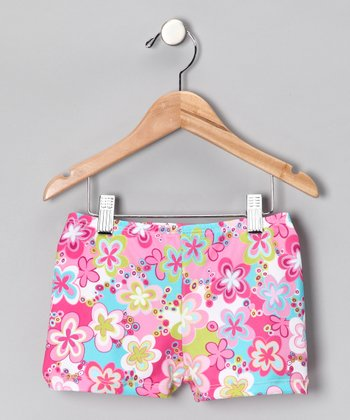 Pink Groovy Garden Shorts - Girls