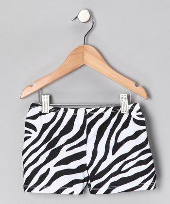 Black & White Zebra Shorts - Girls