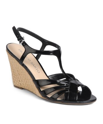 Black Gable Wedge Sandal