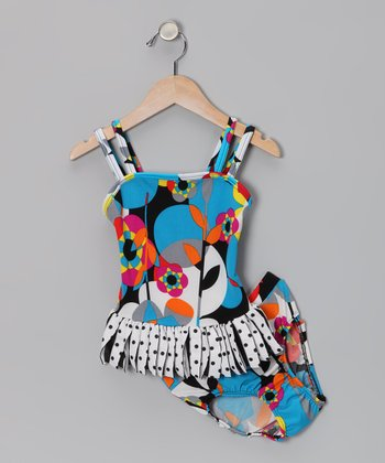 Black Geometric Flower Ruffle Tankini - Infant & Toddler