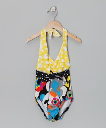 Black & Yellow Geometric Flower One-Piece - Toddler & Girls