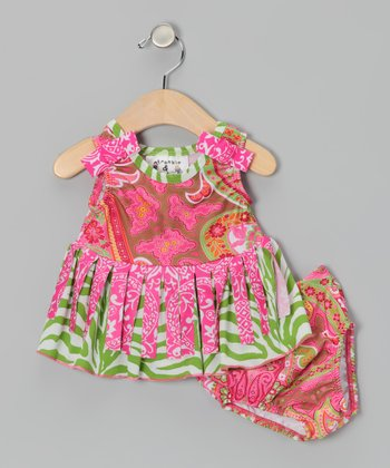 Pink & Green Paisley Bathing Beauty Tankini - Infant