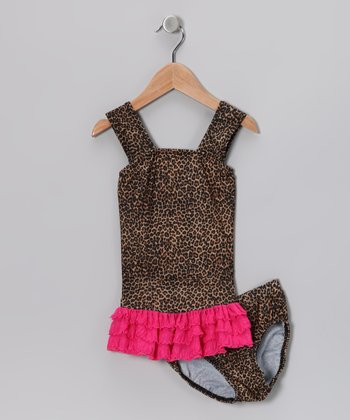 Brown Leopard Ruffle Tankini - Toddler & Girls
