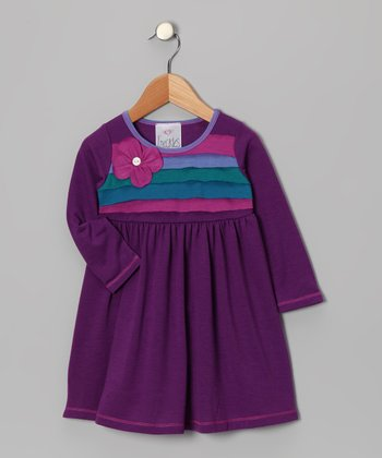 Purple Flower Corsage Dress - Girls