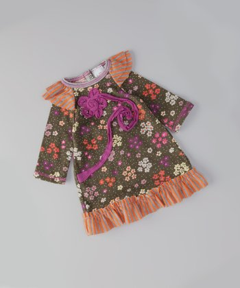 Orange & Olive Ruffle Doll Dress