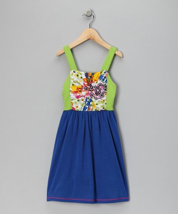 Royal Blue & Lime Knot Dress - Toddler & Girls