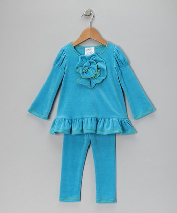 Teal Velour Tunic & Leggings - Girls
