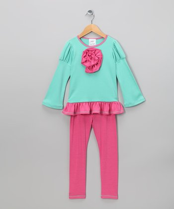 Aqua Rose Tunic & Pink Leggings - Girls