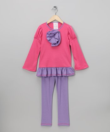 Pink Rose Tunic & Lilac Leggings - Girls