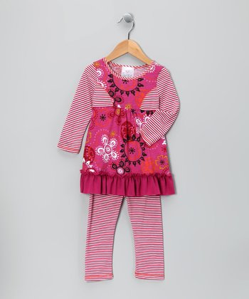 Fuchsia Princess Tunic & Leggings - Girls