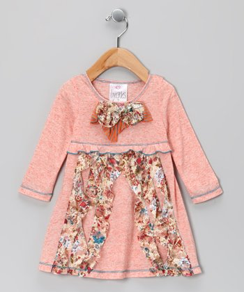 Coral Floral Bow Dress - Girls