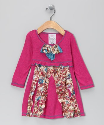 Fuchsia Floral Bow Dress - Toddler & Girls