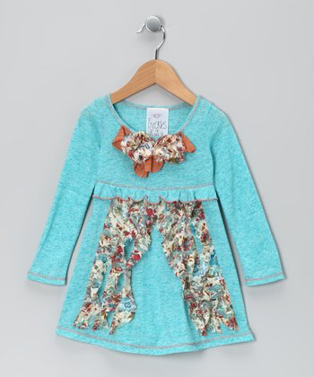 Turquoise Floral Bow Dress - Girls
