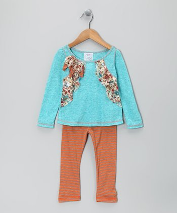 Turquoise Floral Bow Tunic & Orange Leggings - Girls