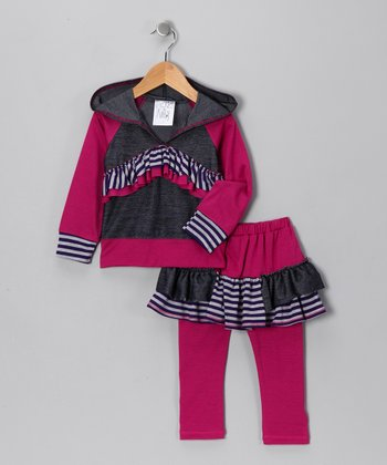 Magenta Ruffle Hoodie & Skirted Leggings - Girls