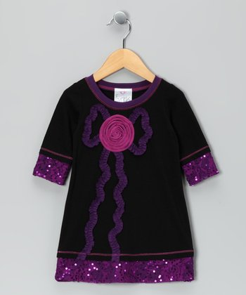 Black & Purple Sequin Rose Dress - Toddler & Girls