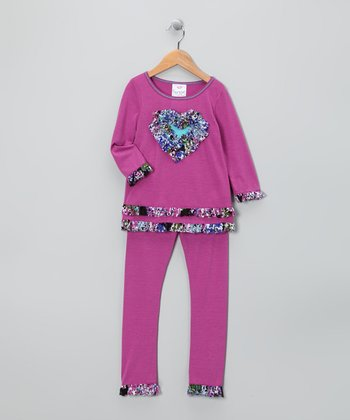 Orchid Heart Ruffle Tunic & Leggings - Toddler & Girls