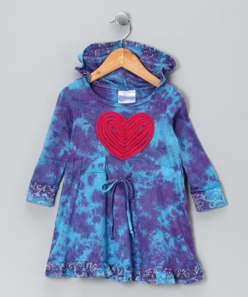 Purple & Blue Heart Tie-Dye Dress - Toddler