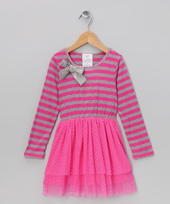 Fuchsia Stripe Bow Dress - Toddler