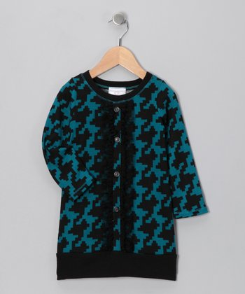 Teal Houndstooth Placket Dress - Toddler & Girls