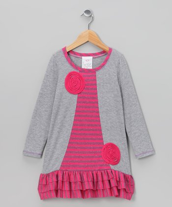 Gray & Pink Lollipop Ruffle Swing Dress - Toddler