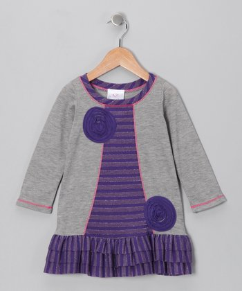Gray & Purple Lollipop Ruffle Swing Dress - Toddler & Girls