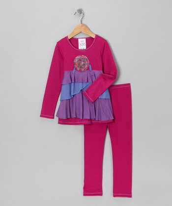 Magenta Ruffle Tunic & Leggings - Toddler & Girls
