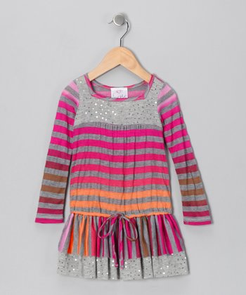 Fuchsia Stripe Drop-Waist Dress - Toddler & Girls