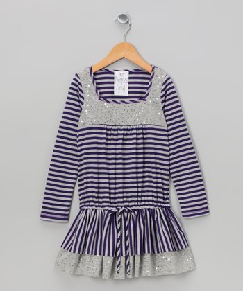 Purple Stripe Drop-Waist Dress - Toddler
