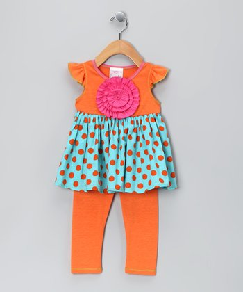 Orange Polka Dot Peony Tunic & Leggings - Girls