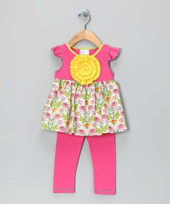 Hot Pink Floral Angel-Sleeve Tunic & Leggings - Toddler & Girls