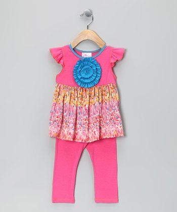 Rose Pink Petal Angel-Sleeve Tunic & Leggings - Toddler & Girls