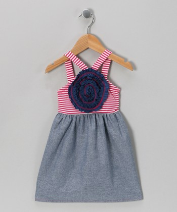 Red Stripe & Chambray Blooming Rose Dress - Girls