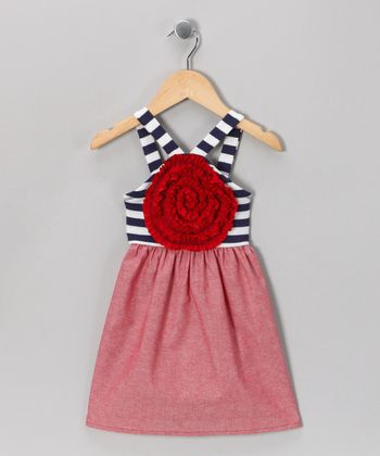 Red & Navy Stripe Blooming Rose Dress - Toddler & Girls